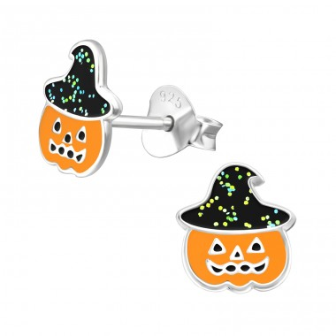 Pumpkin - 925 Sterling Silver Ear studs with enamel colors A4S38692