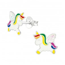 Unicorn - 925 Sterling Silver Colorful ear studs for kids A4S38693