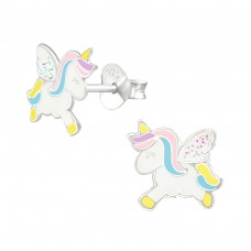 Unicorn - 925 Sterling Silver Colorful ear studs for kids A4S38694