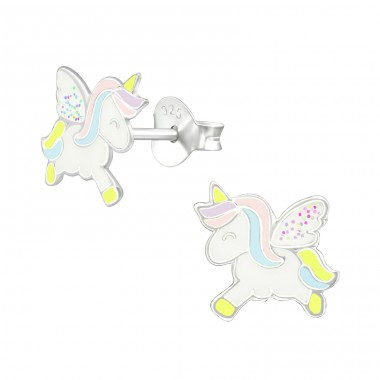 Unicorn - 925 Sterling Silver Ear studs with enamel colors A4S38694