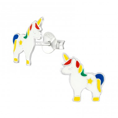 Unicorn - 925 Sterling Silver Ear studs with enamel colors A4S38695