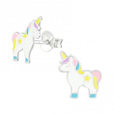 Unicorn - 925 Sterling Silver Ear studs with enamel colors A4S38696