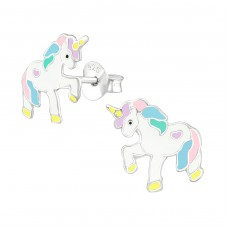 Unicorn - 925 Sterling Silver Colorful ear studs for kids A4S38697