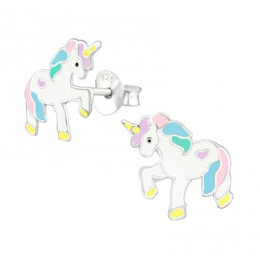 Unicorn - 925 Sterling Silver Ear studs with enamel colors A4S38697
