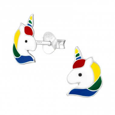 Unicorn - 925 Sterling Silver Ear studs with enamel colors A4S38698