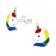 Unicorn - 925 Sterling Silver Colorful ear studs for kids A4S38698