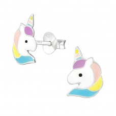 Unicorn - 925 Sterling Silver Colorful ear studs for kids A4S38699