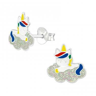 Unicorn - 925 Sterling Silver Colorful ear studs for kids A4S38739