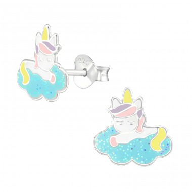 Unicorn - 925 Sterling Silver Colorful ear studs for kids A4S38740
