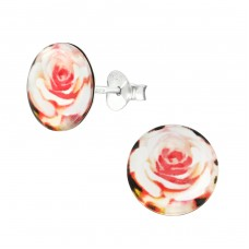 Rose - 925 Sterling Silver Colorful ear studs for kids A4S38749