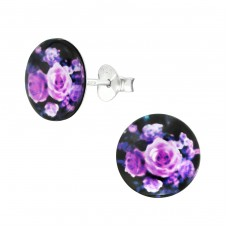 Rose - 925 Sterling Silver Colorful ear studs for kids A4S38753