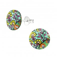 Abstract - 925 Sterling Silver Colorful ear studs for kids A4S38754