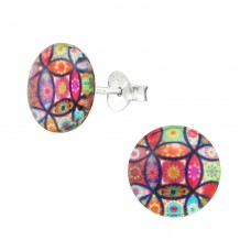 Abstract - 925 Sterling Silver Colorful ear studs for kids A4S38755