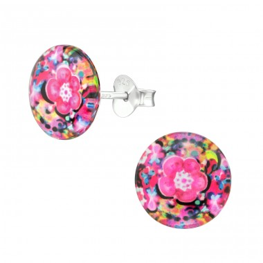 Abstract - 925 Sterling Silver Colorful ear studs for kids A4S38756