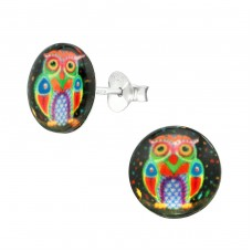 Owl - 925 Sterling Silver Colorful ear studs for kids A4S38758