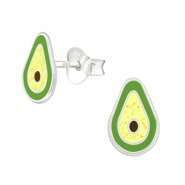 Avocado - 925 Sterling Silver Ear studs with enamel colors A4S38762
