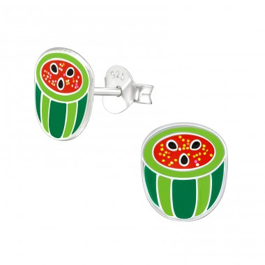 Watermelon - 925 Sterling Silver Ear studs with enamel colors A4S38763