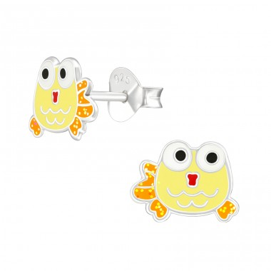 Fish - 925 Sterling Silver Ear studs with enamel colors A4S38764