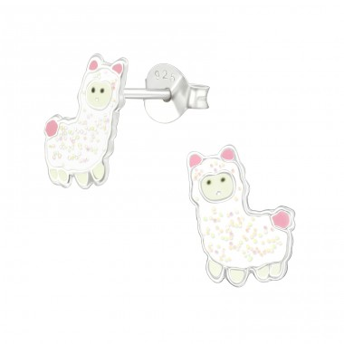 Alpaca - 925 Sterling Silver Colorful ear studs for kids A4S38765
