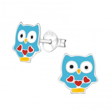 Owl - 925 Sterling Silver Colorful Ear Studs For Kids A4S39014