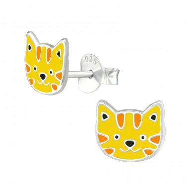 Tiger - 925 Sterling Silver Ear studs with enamel colors A4S39085