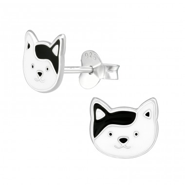 Cat - 925 Sterling Silver Ear studs with enamel colors A4S39086