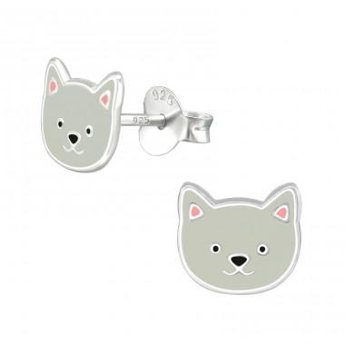 Dog - 925 Sterling Silver Ear studs with enamel colors A4S39087