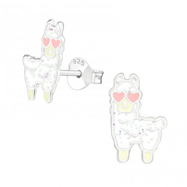 Alpaca - 925 Sterling Silver Colorful ear studs for kids A4S39142