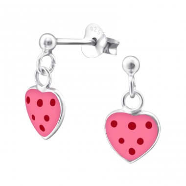 Heart - 925 Sterling Silver Colorful ear studs for kids A4S3914