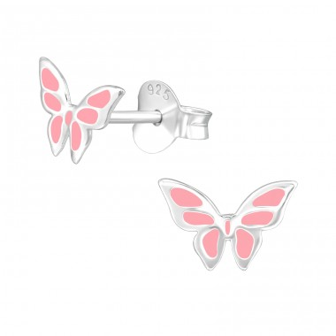 Butterfly - 925 Sterling Silver Ear studs with enamel colors A4S39284