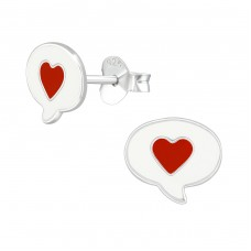 Heart - 925 Sterling Silver Colorful ear studs for kids A4S39285