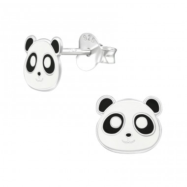 Panda - 925 Sterling Silver Ear studs with enamel colors A4S39286