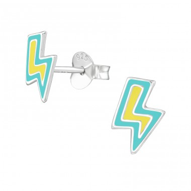 Lightning Bolt - 925 Sterling Silver Colorful ear studs for kids A4S39287
