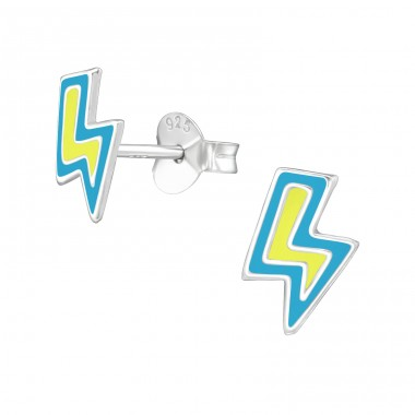 Lightning Bolt - 925 Sterling Silver Ear studs with enamel colors A4S39287