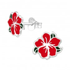 Chinese Rose - 925 Sterling Silver Colorful ear studs for kids A4S39288
