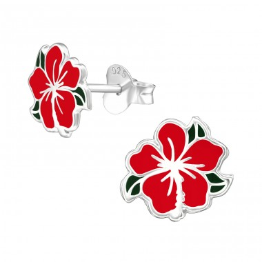 Chinese Rose - 925 Sterling Silver Ear studs with enamel colors A4S39288