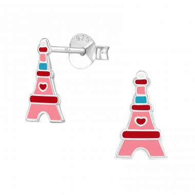Eiffel Tower - 925 Sterling Silver Colorful ear studs for kids A4S39289
