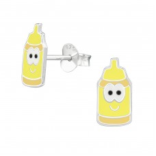 Milk Bottles - 925 Sterling Silver Colorful ear studs for kids A4S39290