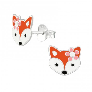 Fox - 925 Sterling Silver Colorful ear studs for kids A4S39291