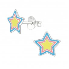 Star - 925 Sterling Silver Colorful ear studs for kids A4S39292
