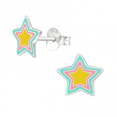Star - 925 Sterling Silver Ear studs with enamel colors A4S39292