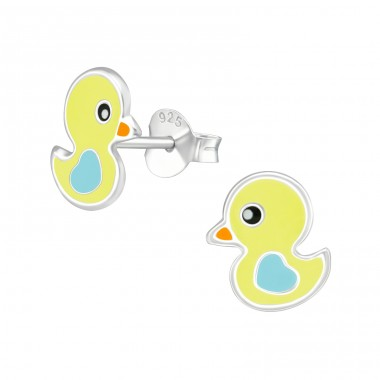 Duck - 925 Sterling Silver Ear studs with enamel colors A4S39293