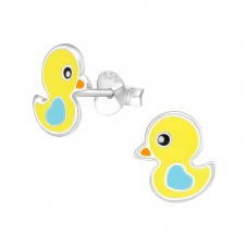 Duck - 925 Sterling Silver Colorful ear studs for kids A4S39293