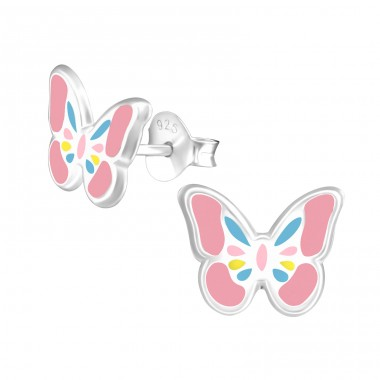 Butterfly - 925 Sterling Silver Ear studs with enamel colors A4S39297