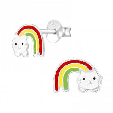 Rainbow Cat - 925 Sterling Silver Colorful ear studs for kids A4S39298