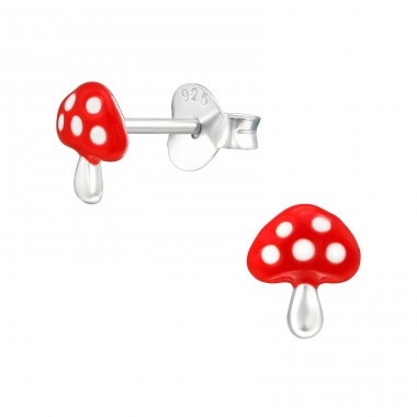Mushroom - 925 Sterling Silver Colorful ear studs for kids A4S39299