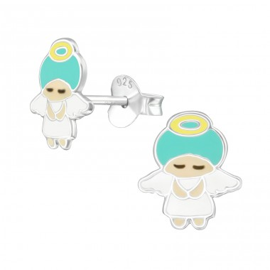 Angel - 925 Sterling Silver Colorful ear studs for kids A4S39300