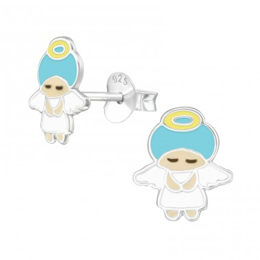 Angel - 925 Sterling Silver Ear studs with enamel colors A4S39300