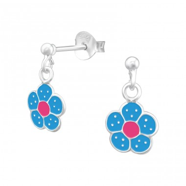 Hanging Flower - 925 Sterling Silver Colorful ear studs for kids A4S39322