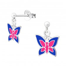 Hanging Butterfly - 925 Sterling Silver Colorful ear studs for kids A4S39323